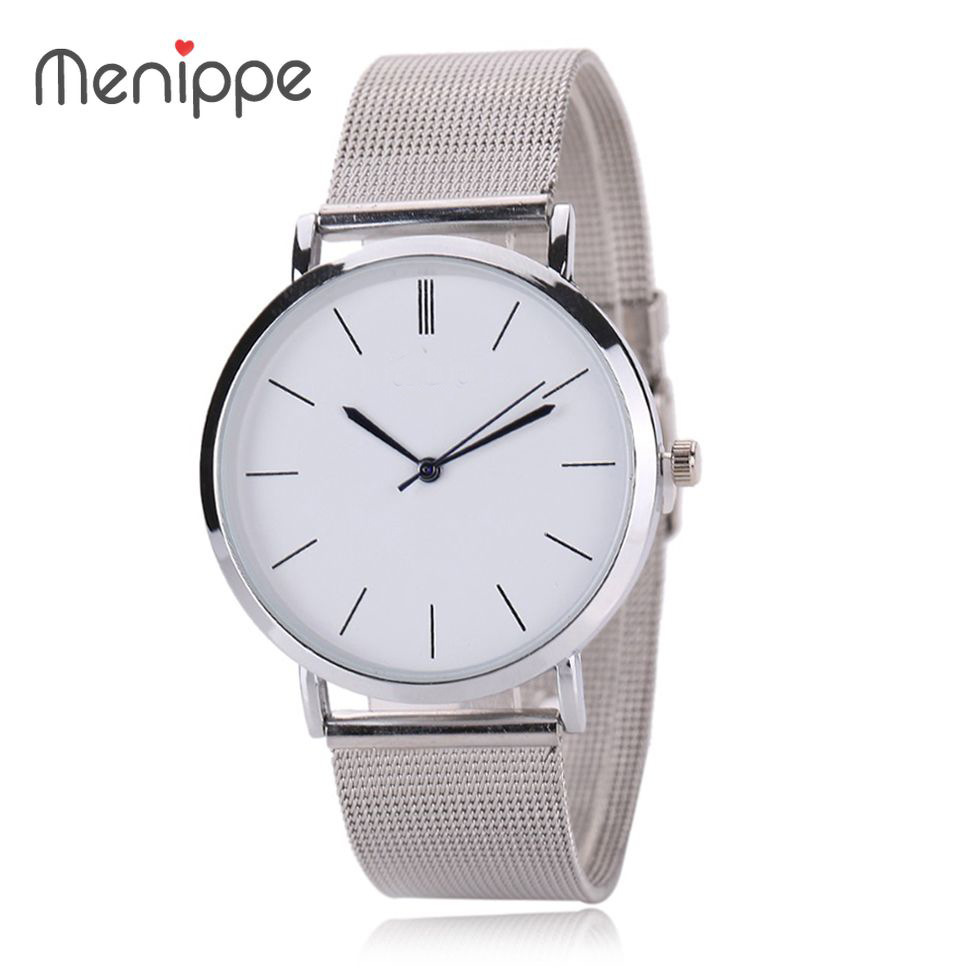 2017 New Famous Brand Silver Casual Geneva Quartz Watch Women Metal Mesh Stainless Steel Dress Watches Relogio Feminino Clock strap