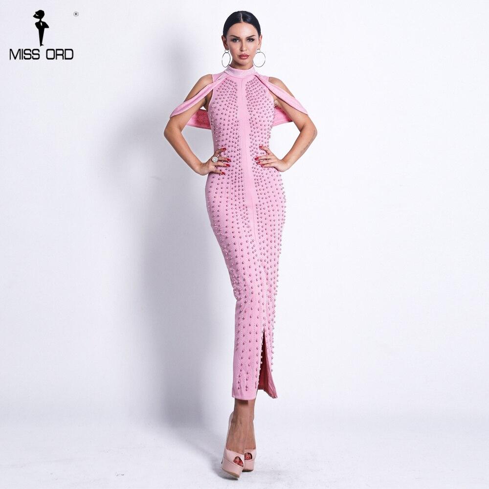 5ec3e699 Missord 2019 Sexy New Off Shoulder White Beads Elegant Dresses Female Rivet  Middle Split Bodycon Mid-calf Dress FT8881