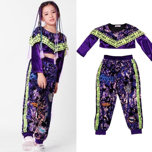 362ab3b13e9f 1 SET Kids Sequined Hip Hop Clothing Suits Girls Purple Tops Pants Jazz  Dance Costumes Ballroom Carnival Party Dancing Outfits