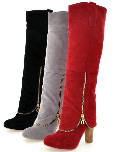 Moda feminina Botas até o joelho praça sapatos de salto alto Zipper charme plataforma outono inverno mulheres Botas até o joelho cavaleiro Botas sapato