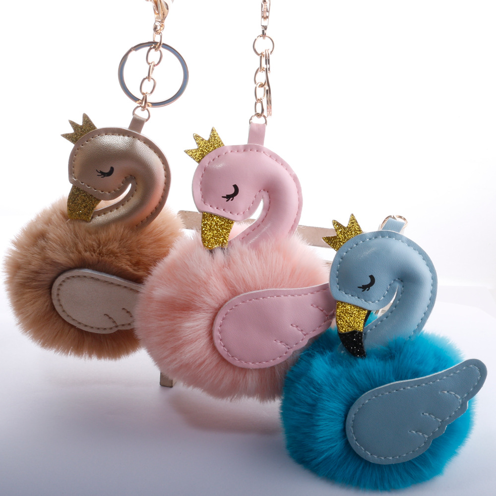 Baby Toy Fur Ball Key Chain Girl Women Bag Pendant