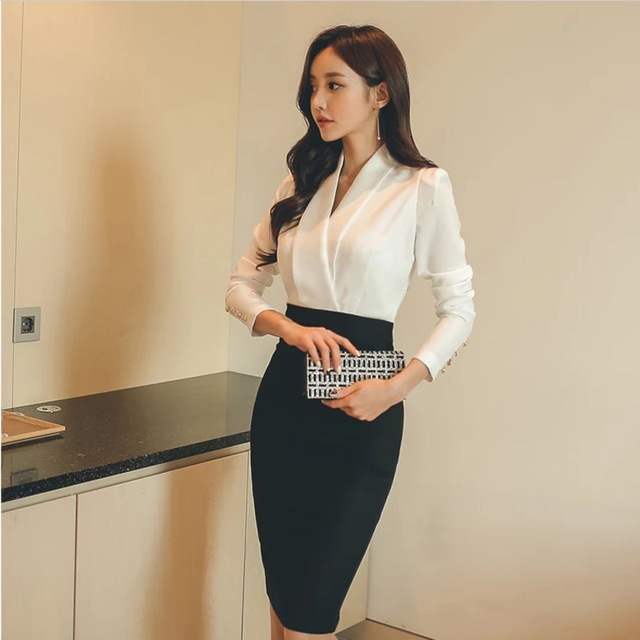 433780a265eeb US $23.74 5% OFF|New korean fashion temperament package hip pencil dress  female autumn OL office sexy v neck long sleeve elegant party dress-in ...