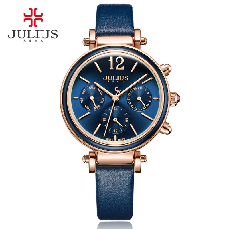 Prix pour Julius Marque Creative Montres Femmes Mode Chronos Quartz Montre Rétro Vintage Montre Femme Auto Jour Date Femelle Horloge JA-958