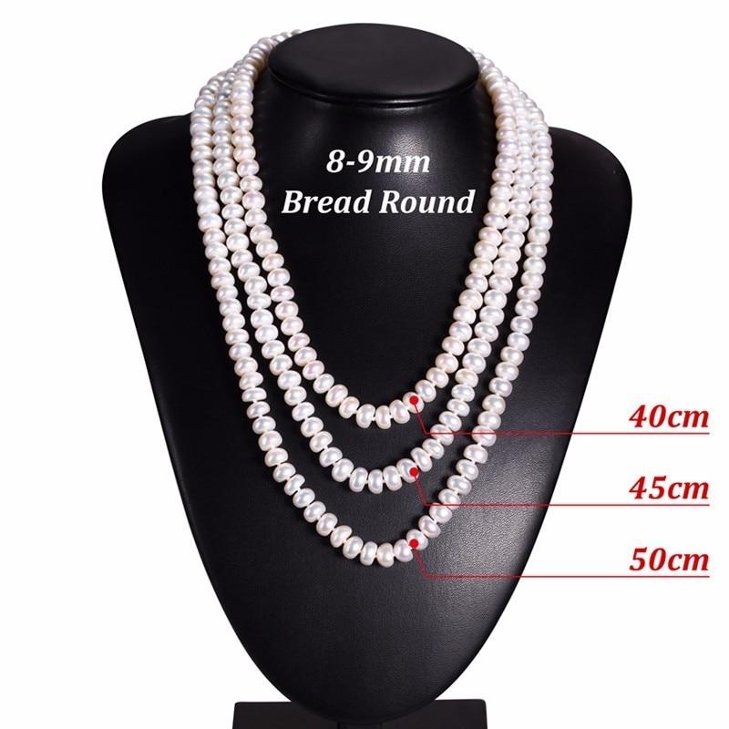 Hvit Naturlig Ferskvann Perle Halskjede For Kvinner 8-9mm Halskjede - Mote smykker - Bilde 3