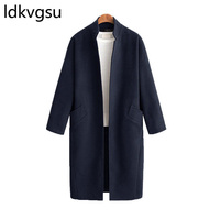 Women Wool Trench Coat Solid Lady Loose Long Stand Collar Cardigans Woolen Coats Winter Blends Big size Overcoat Army green f090