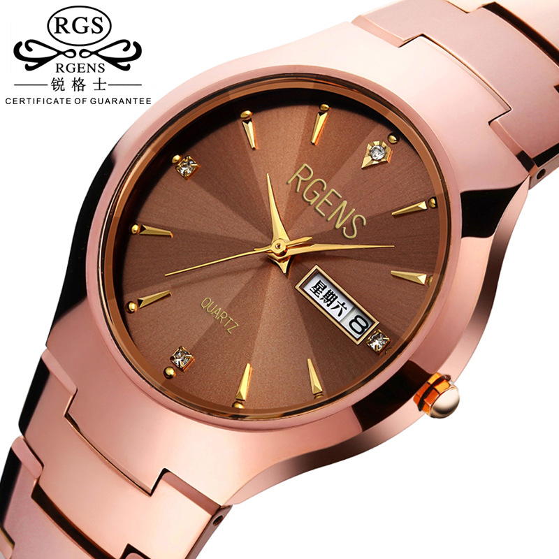 ФОТО 50 Meter Waterproof Men Quartz Watch Luxury Tungsten Band Watch Casual Rose Gold Clock Male Wristwatch Clock Relogio With Box
