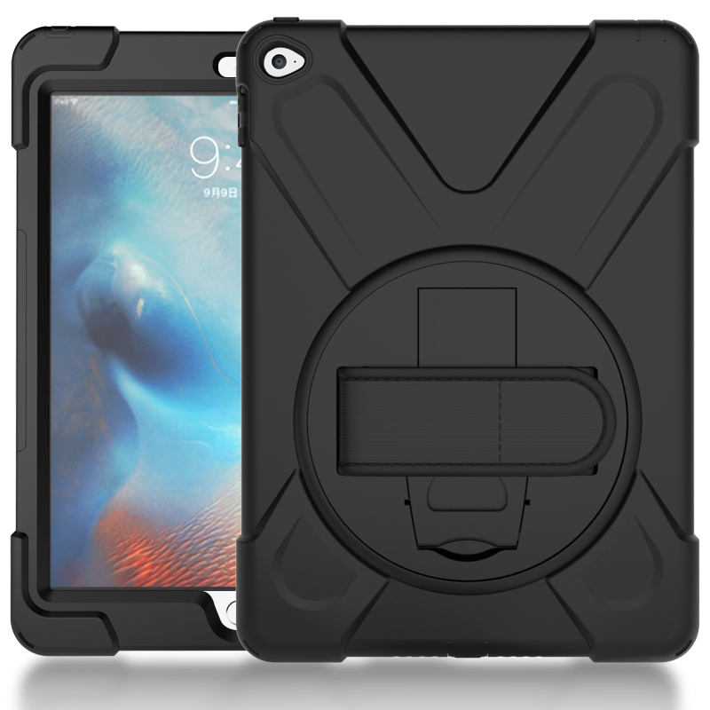OCUBE for iPad Air 2 Kids Safe Shockproof Heavy Duty Silicone Hard Cover Kickstand Design Case With Wrist Strap for iPad 6
