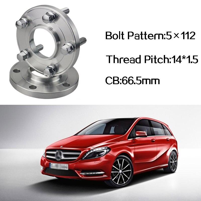2 pièces 5x112 66.5CB Centric Entretoise De Roue Moyeux M14 * 1.5 Boulons Pour Benz Classe B Mercedes-benz Classe CLA