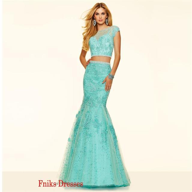 7bb9c152e Dos pedazos largos de la sirena vestidos fiesta 2016 vestidos elegantes  verde menta Appliques del cordón