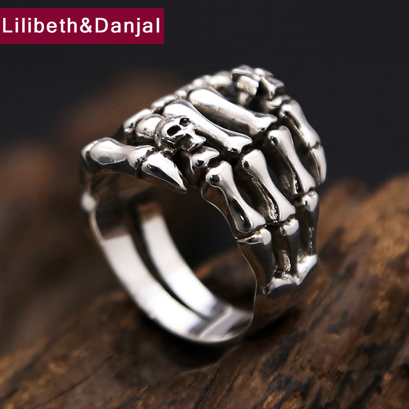 New 925 Sterling Thai Silver Ring Men Women Jewelry Skull Cross Ghost Claws Engagement Ring Gift Fine Jewelry R30New 925 Sterling Thai Silver Ring Men Women Jewelry Skull Cross Ghost Claws Engagement Ring Gift Fine Jewelry R30