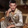 Мужчины осень 100 шелк С Длинными рукавами Из Двух частей костюм Пижамы костюм