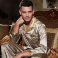 Male autumn 100 silk Long sleeves Two-piece suit Pajamas suit