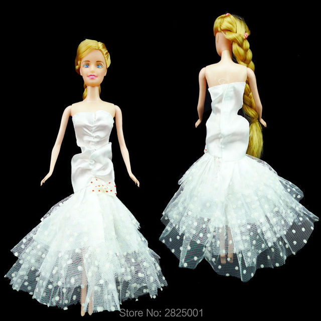 1x Strapless Mermaid Skirt Wedding Dress With Bowknot Lace Gown Party  Princess Clothes For Barbie Vintage Doll Accessories Kids 70dda4defd07