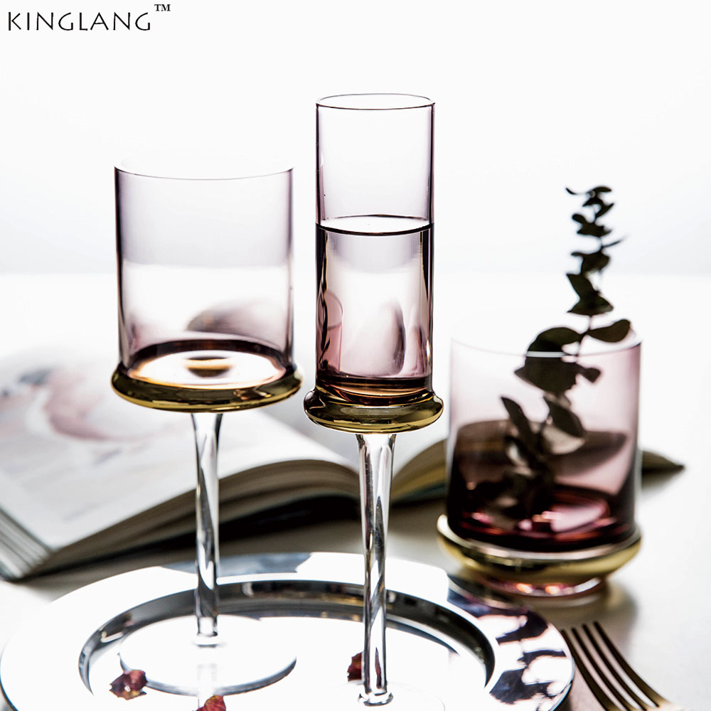 Electroplated glass wine glass, creative wine glass cup Champagne Cup, household gold plated wine cup, goblet cup golden