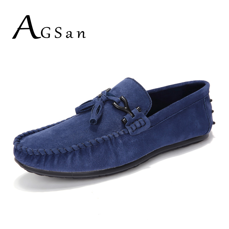 AGSan Men Blue Loafers Moccasins   Suede     Leather   Driving Loafers Shoes Men Handmade Tassel Loafers Luxury Brand   Leather   Loafers
