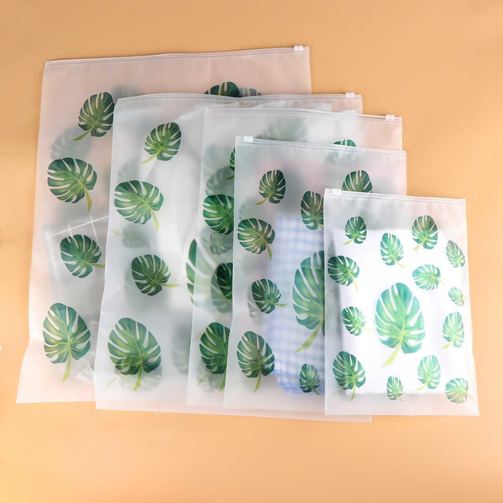 5PCS Portable S-XXL Plastic Bag Storage Pouch Translucent Zip Lock Waterproof Cloth Underwear Organizer Travel Clothes Bag
