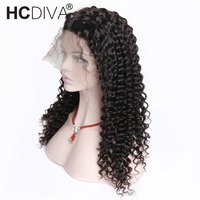 Deep Wave Lace Frontal Wigs Brazilian Remy Hair 360 Lace Frontal Wigs With Baby Hair 130% Density Natural Black Color HCDIVA