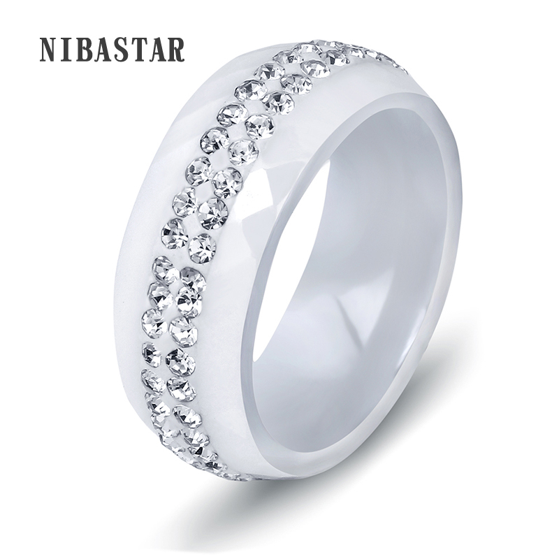 High Quality Black And White Simple Style Simply Crystal Ceramic Rings for Women