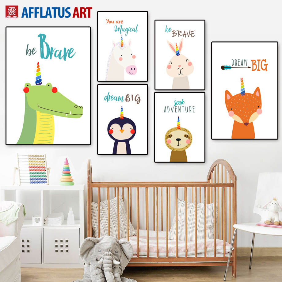 Crocodile Fox Bear Rabbit Dream Quotes Nordic Posters And Prints Wall Art Canvas Painting Nursery Pictures Kids Room Decor