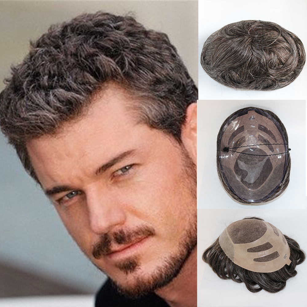 Eversilky Новое поступление 100% настоящие волосы Замена короткие небольшая волна серый коричневый красивый натуральные волосы парик