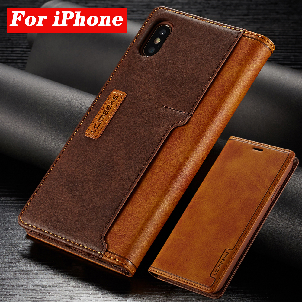 Leather Cases For Apple iPhone 11 Pro X XR XS MAX ProMAX 8 7 6 6S Plus Contrast Color Flip Fundas Magnetic Leather Holster Case(China)