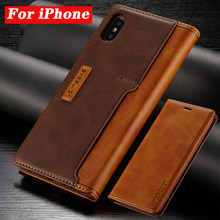 Leather Cases Voor Apple Iphone 11 Pro X Xr Xs Max Promax 8 7 6 6S Plus Contrast Kleur flip Fundas Magnetische Leather Holster Case(China)