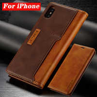 Leather Cases For Apple iPhone 11 Pro X XR XS MAX ProMAX 8 7 6 6S Plus Contrast Color Flip Fundas Magnetic Leather Holster Case