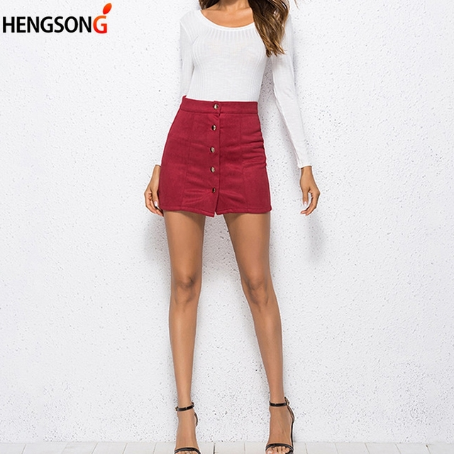 fba00f94db265 Wine Red Button Women Skirt Mini Short High Waist Bodycon Pencil Summer  2018 Women Mini Jupe
