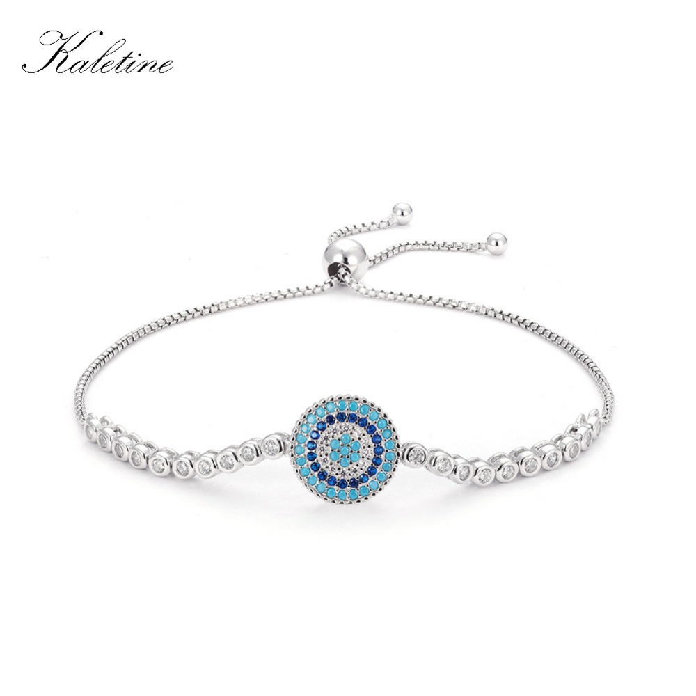 Luxury 925 Sterling Silver Woman Bracelets CZ Crystal Charm Blue Enamel Evil Eye Beads for Women Jewelry Couple Bracelet KLTB017 blue cz evil eye disco charm cz cross dainty silver chain girl women evil eye jewelry 925 sterling silver lucky eye necklace