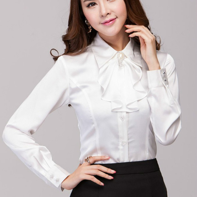 Red White Women Fashion Office Blouse Satin Blouses Women Work ...