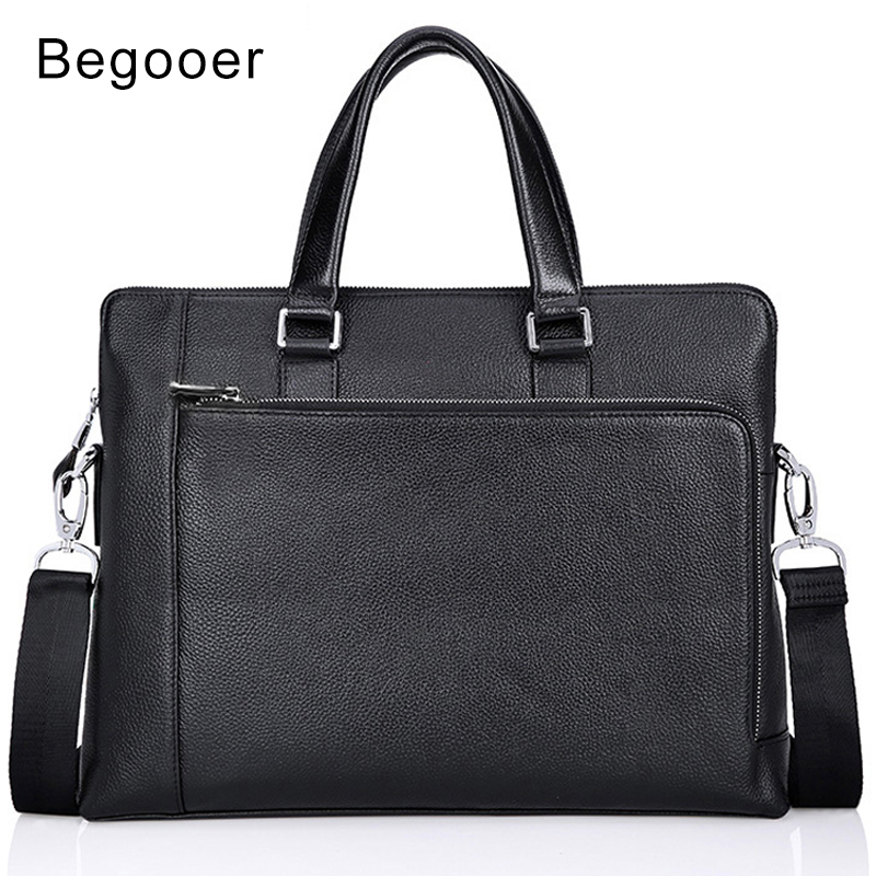 BEGOOER Genuine Leather Men Bag Man Briefcases Male Leather Business Laptop Briefcase Men Travel Shoulder Bags Man Big Tote Bags cossloo promotion authentic brand composite leather bag men s travel bags casual male shoulder briefcase for business man