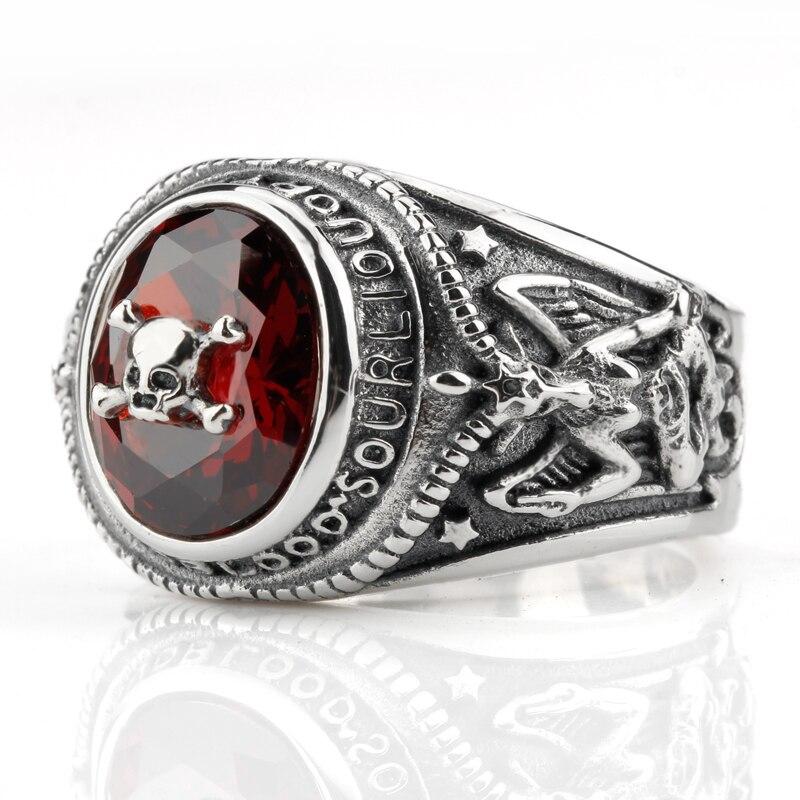 Takı ve Aksesuarları'ten Halkalar'de 925 ayar gümüş İskelet kafatası erkekler motorcu yüzüğü kırmızı CZ ve portre meditasyon erkekler Vintage ağır takı'da  Grup 3