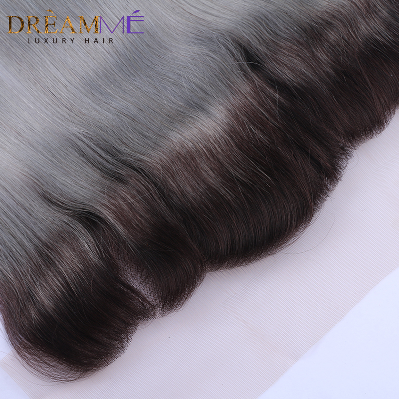 1b 그레이 스트레이트 헤어 레이스 프론트 옴 브레 - 인간의 머리카락 (검은 색) - 사진 3