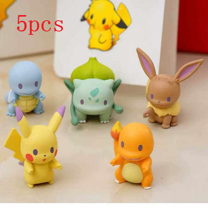 Hot 5pcs/set Pikachu Model Car Ornament Charmander Bulbasaur Squirtle Eevee Gashapon Anime Action Figures Pikachu Toys For Kids