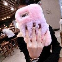 Woman Luxury Rhinestone Diamond Case Lady Fluffy Winter Warm Wool Rabbit Hair Cover For Samsung Galaxy