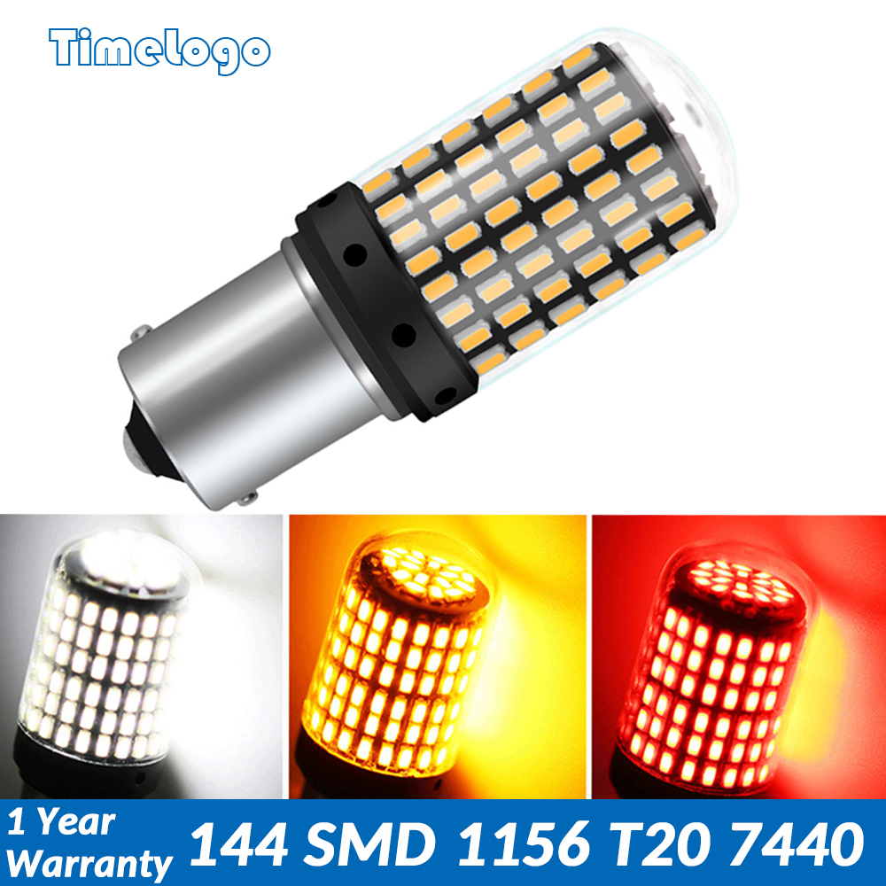 1pcs T20 7440 W21W LED Bulbs 144 Smd Led CanBus No Error 1156 BA15S P21W BAU15S PY21W Lamp For Turn Signal Light No Flash