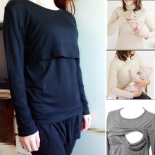 Y lounge mummy breastfeeding nursing solid tops sleeve clothes cotton long