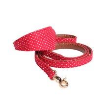 pawstrip 4 Colors Dot Small Dog Collar Bandana Soft Leather Dog Leash Cute Bow Cat Collar Pet Teacup Chihuahua Collar Leash Lead