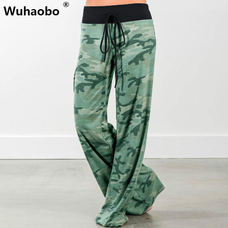 Wuhaobo Loose Camouflage   Pants     Capri   Bottoms Fashion Casual Harem   Pants   Women Summer Trousers Wide Leg Green Sweatpants