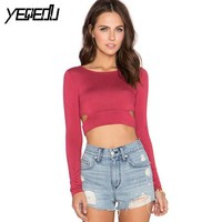 #1622 Hollow out Slim t shirt women Red/Black tshirt Short length Sexy shirt Summer tops femme t-shirt vrouwen Short feminino