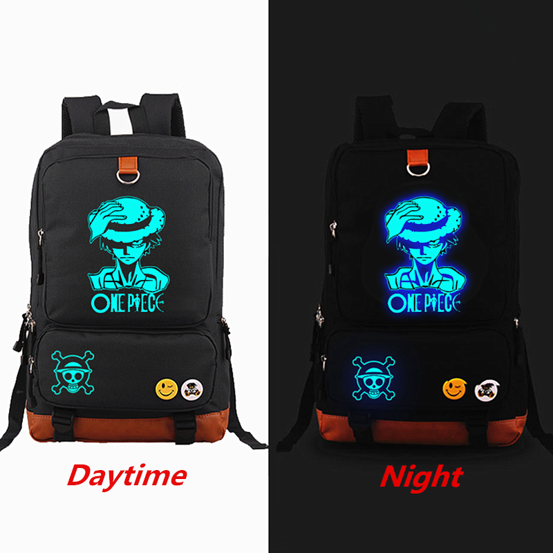 Anime One Piece Luffy Luminous Printing Backpack Canvas Travel Bag School Bags for teenagers Backpacks Laptop bag Mochila fairy tail shoulders school bags anime canvas luminous printing backpack schoolbags for teenagers mochila feminina