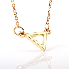10 hollow triangle necklace triangle Geometric hexagon necklace simple polygon geometry V female male quadrilateral necklace 10pcs n050 fashion flat triangle necklace cut out subulate necklaces simple geometric polygon layering triangle necklace