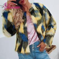 Versear Women Faux Fur Jacket Shaggy Coat Mix Color Long Sleeve Winter Warm Slim Luxury Fluffy Jacket Streetwear Faux Fur Coat