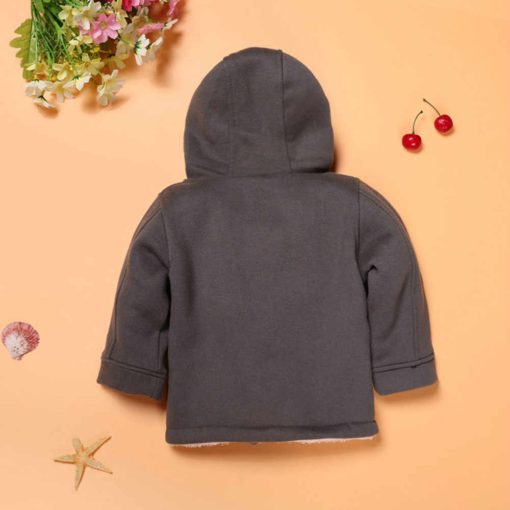 경적 단추 작은 소년 후드 가디건 가을 겨울 패킷 면화 따뜻한 코트 키즈 소년 재킷 유행 의류 캐주얼웨어
