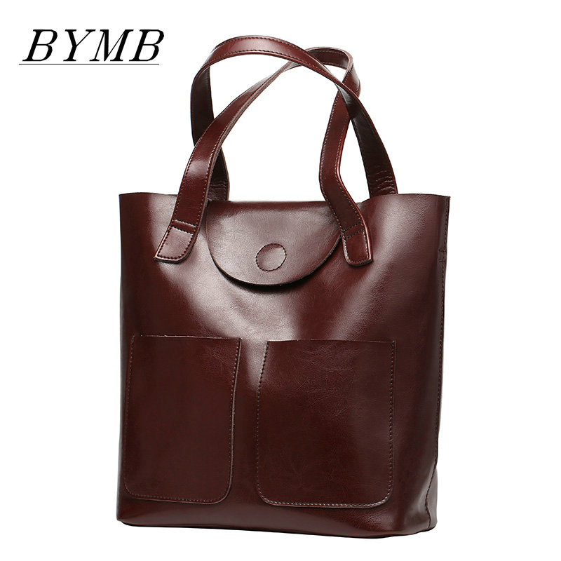 Brand 2017 Fashion Women Handbag 100% Genuine Leather Women Bag Soft Oil Wax Leather Shoulder Bag Large Capacity Casual Tote new 2017 fashion brand genuine leather women handbag europe and america oil wax leather shoulder bag casual women