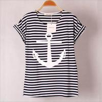 Hot Sale 2015 Summer New Women S Stripe Print Short Sleeved Cotton T Shirt With Casual