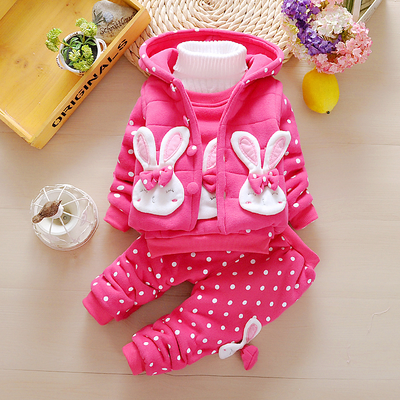 3Pcs Toddler Baby Girls Clothes Set 2018 New Thick Velvet Clothing Sets Cartoon Rabbit Hooded Vest+Shirt+Pants Dot Suits JF506