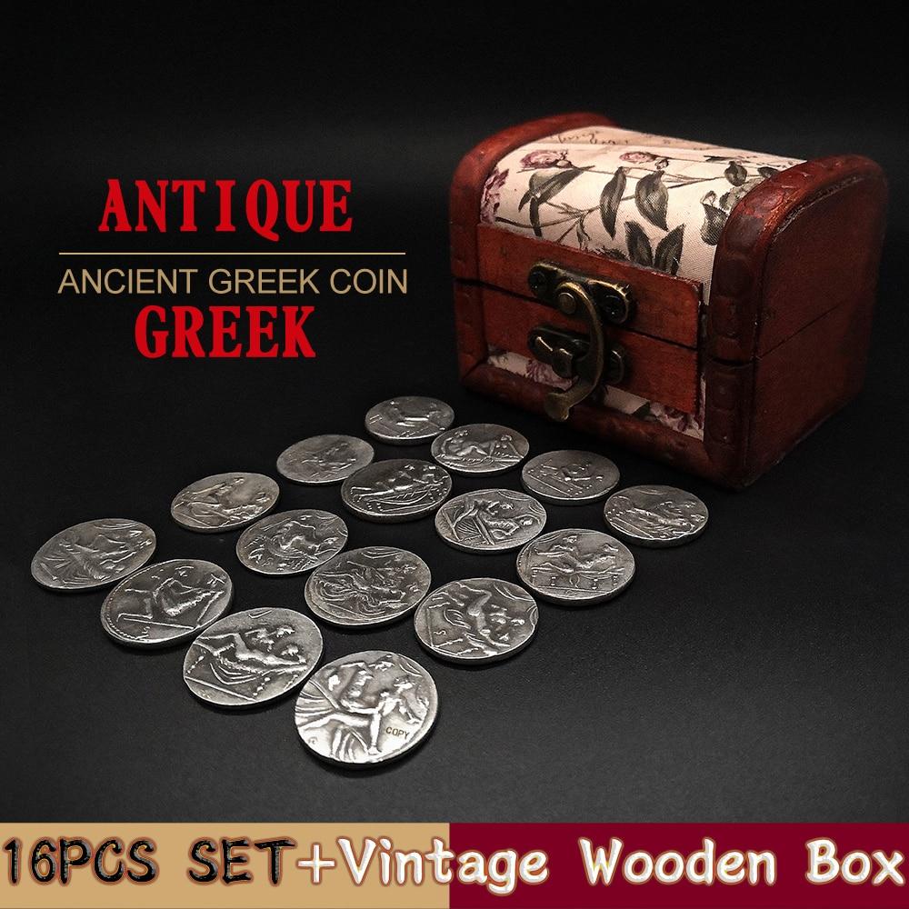 16 pièces ensemble grec pièce de monnaie romaine Collection boîte de bois Sexy Badge artisanat cadeaux copie antique grèce