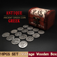 16pcs Set Greek Coin Roman Coins Collection Box Of Wooden Sexy Badge Crafts Gifts Copy Ancient Greece