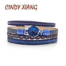 CINDY XIANG New Arrival 3 Colors Choose Twisted Leather Chain Bracelets For Women And Men Stone Cuff Bangles Summer Style